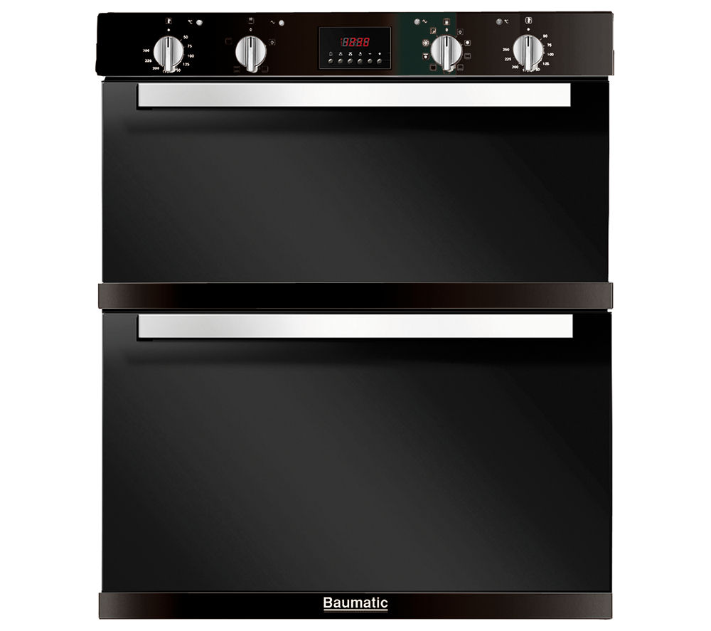 Image of Baumatic BO796.5BL Electric Built-under Double Oven - Black, Black