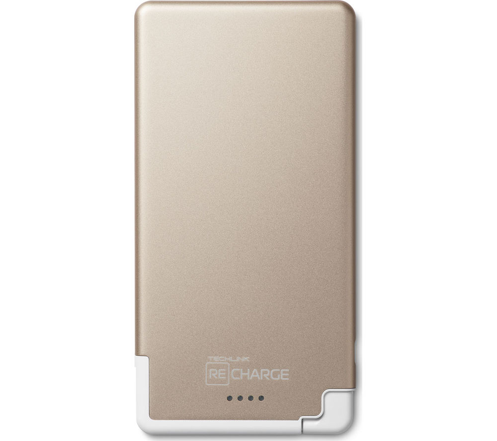 TECHLINK Recharge Ultrathin 5000 Portable Power Bank - Gold & White