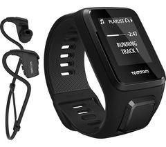 TOMTOM Spark 3 + Music with Sport Bluetooth Headphones - Black, Large
