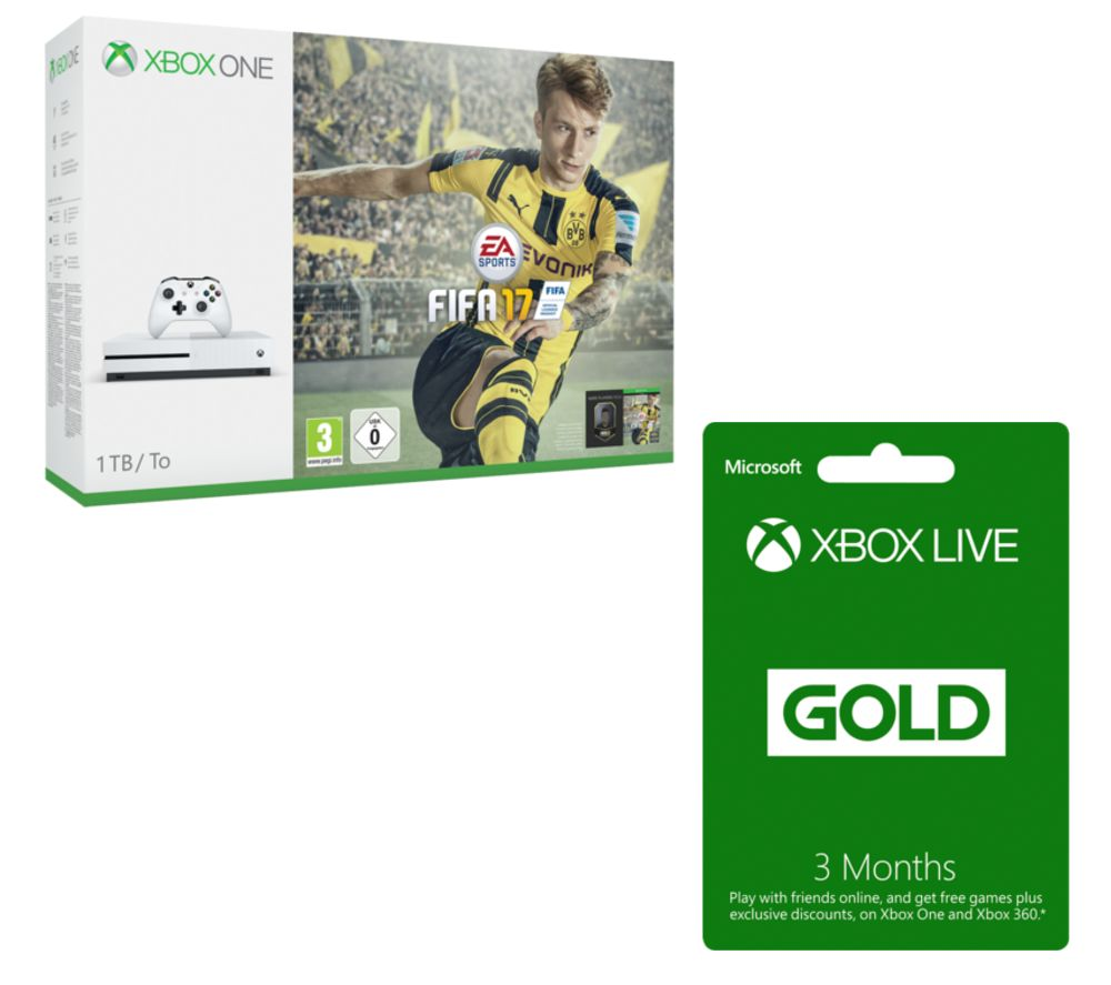 MICROSOFT  Xbox One S with FIFA 17 & 3 Month Xbox LIVE Gold Membership Bundle  1 TB Gold