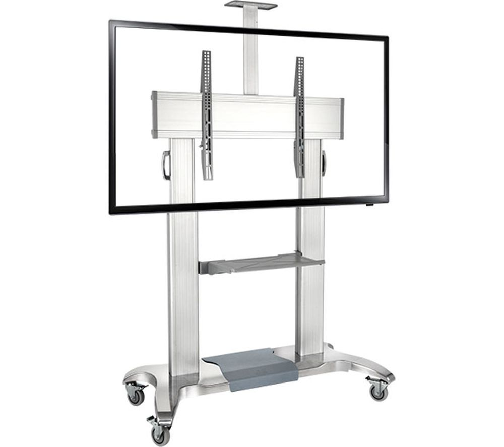 PROPER Portable Trolley TV Stand with Bracket - Silver