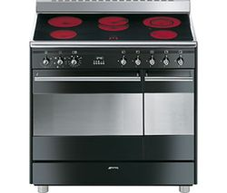 SMEG Concert 90 cm Electric Ceramic Range Cooker - Black & Stainless Steel