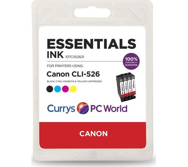 ESSENTIALS C526 Cyan, Magenta, Yellow & Black Canon Ink Cartridges - Multipack