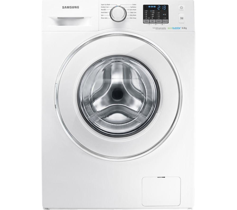 SAMSUNG ecobubble WF80F5E2W4W Washing Machine - White + GTN38250HGCW Heat Pump Tumble Dryer - White