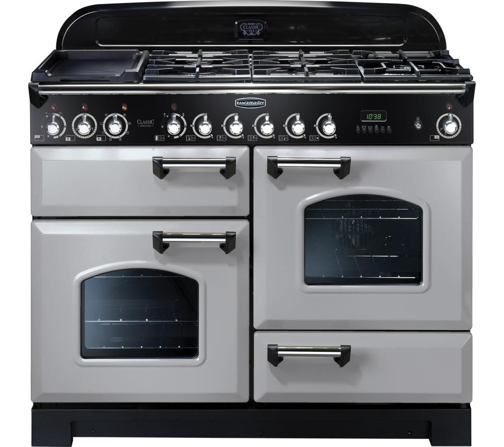 buy rangemaster classic deluxe 110 dual fuel range cooker royal pearl chrome free delivery. Black Bedroom Furniture Sets. Home Design Ideas