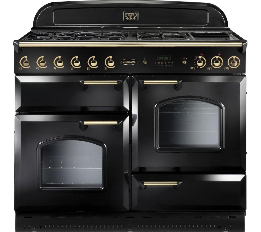 Rangemaster Classic 110 Dual Fuel Range Cooker  Black & Brass Black