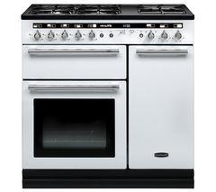 RANGEMASTER Hi-Lite 90 Dual Fuel Range Cooker - White & Chrome