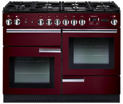 RANGEMASTER Professional+ 110 Dual Fuel Range Cooker - Cranberry & Chrome