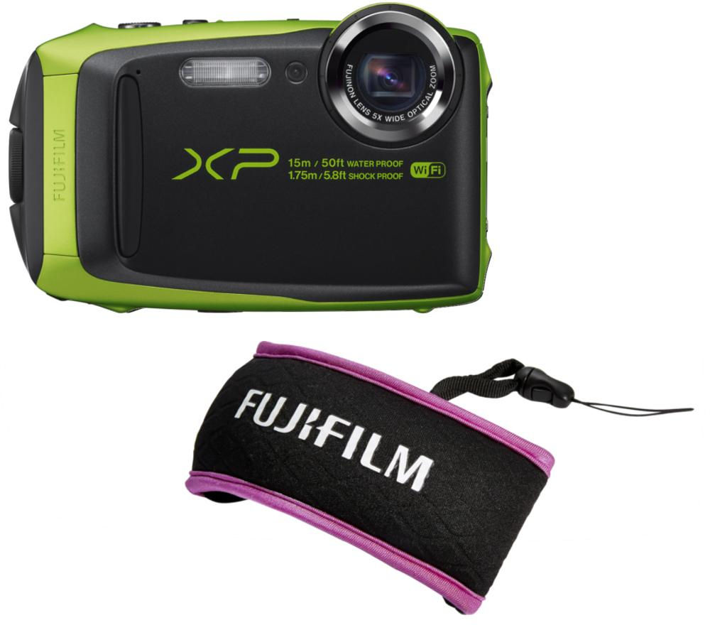 FUJIFILM XP90 Tough Compact Camera & XP Float Strap Green & Purple Bundle