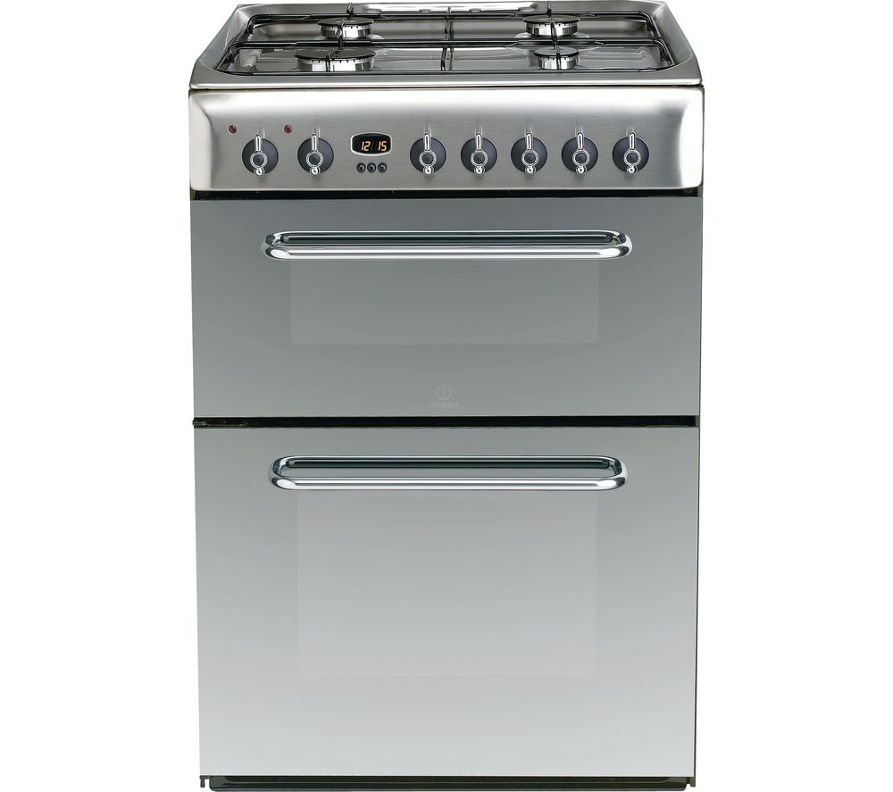 Indesit INDESIT  KDP60SES 60 cm Dual Fuel Cooker  Mirror & Stainless Steel Stainless Steel