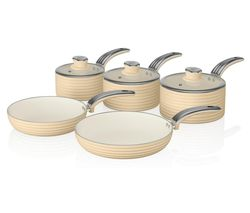 SWAN Retro 5-piece Non-stick Pan Set - Cream