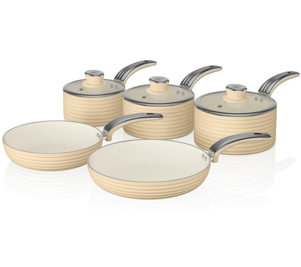 Swan  Retro 5-piece Non-stick Pan Set - Cream, Cream.