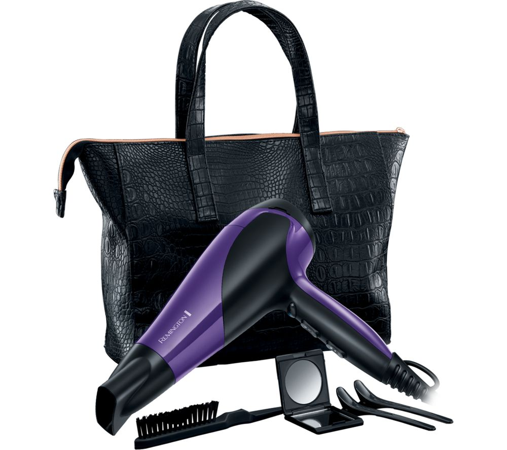 REMINGTON  D3192GP Glamourous of All Hair Dryer Set  Black & Purple Black