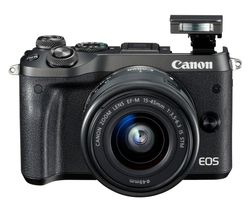 CANON EOS M6 Mirrorless Camera with 15-45 mm f/3.5-6.3 Wide-angle Zoom Lens - Black