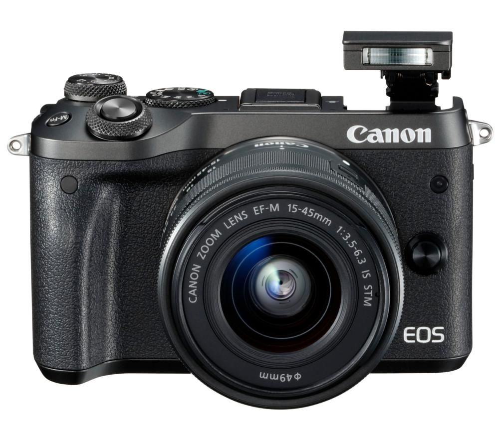 CANON EOS M6 Mirrorless Camera with 15-45 mm f/3.5-6.3 Lens - Black