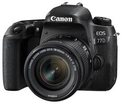 CANON EOS 77D DSLR Camera with 18-55 mm f/4-5.6 IS STM Zoom Lens - Black