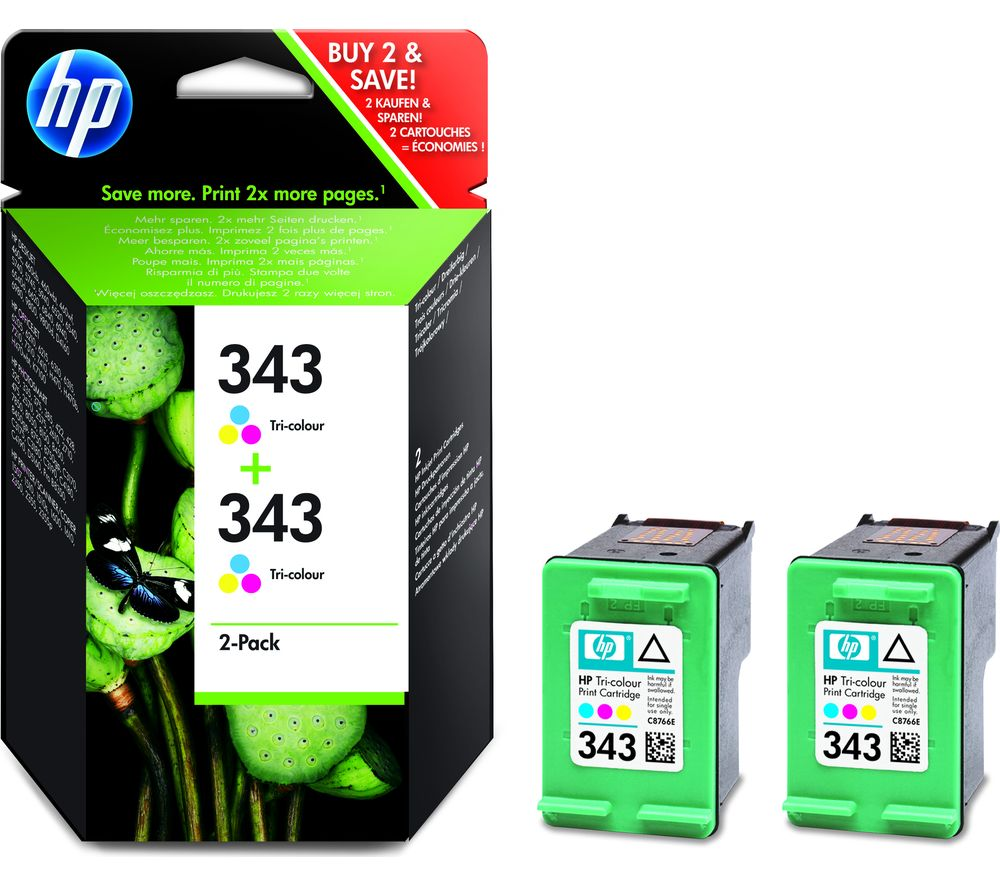 HP 343 Tricolour Ink Cartridge  Twin Pack