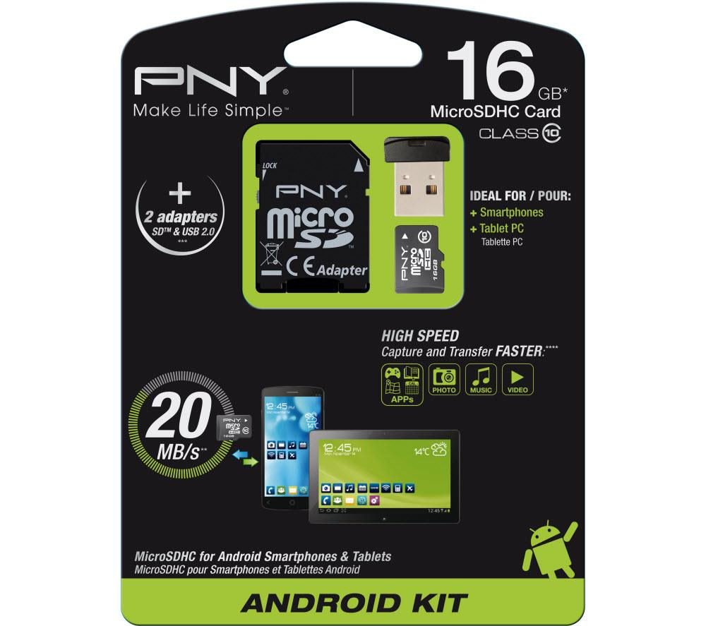 Pny Class 10 microSDHC Memory Card  16 GB