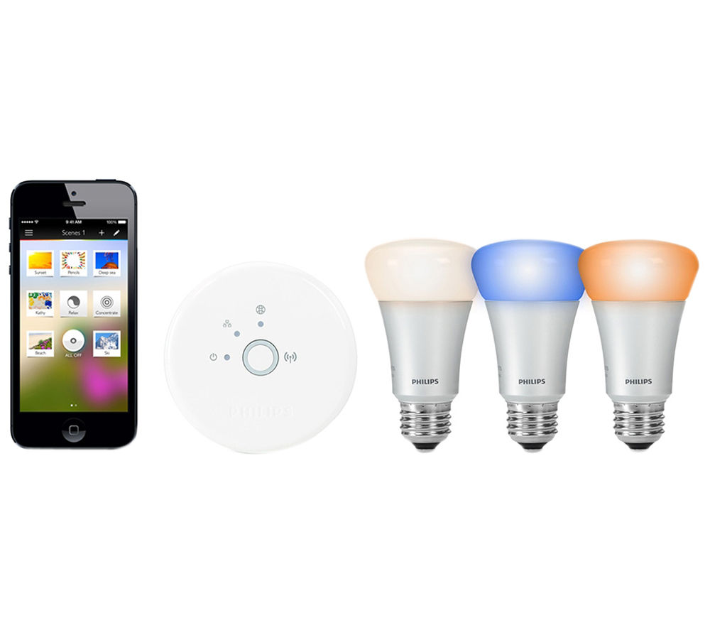 buy philips hue wireless bulbs starter kit e27 free delivery currys. Black Bedroom Furniture Sets. Home Design Ideas