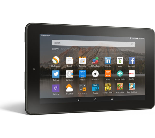 buy amazon fire 7 tablet 8 gb black free delivery currys. Black Bedroom Furniture Sets. Home Design Ideas