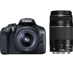 CANON EOS 1300D DSLR Camera with 18-55 mm f/3.5-f/5.6 & 75-300 mm f/3.5-5.6 Lens - Black