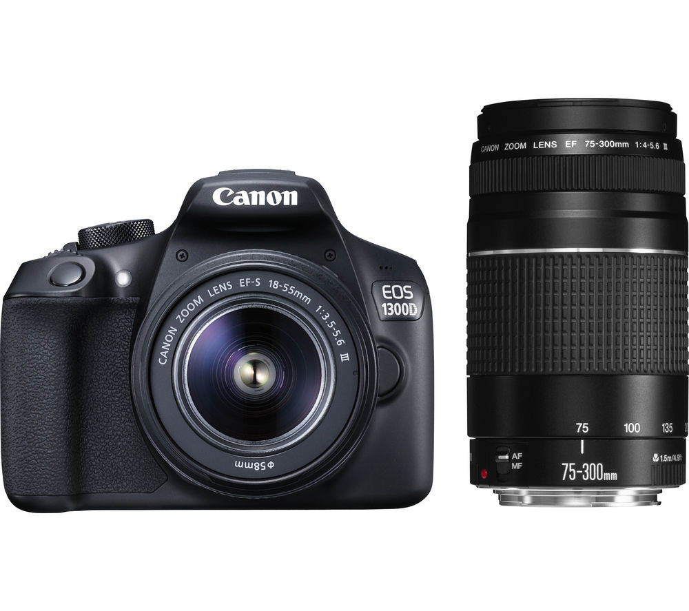 Image of CANON EOS 1300D DSLR Camera with 18-55 mm DC III Zoom Lens and EF 75-300 mm f/4.0-5.6 III Telephoto Zoom Lens - Black, Black