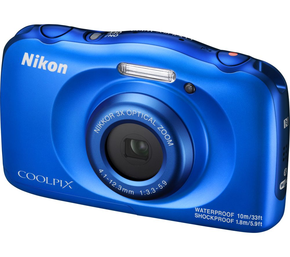 NIKON COOLPIX W100 Tough Compact Camera - Blue + Camera Case - Black + Extreme Plus Class 10 SD Memory Card Twin Pack - 16 GB
