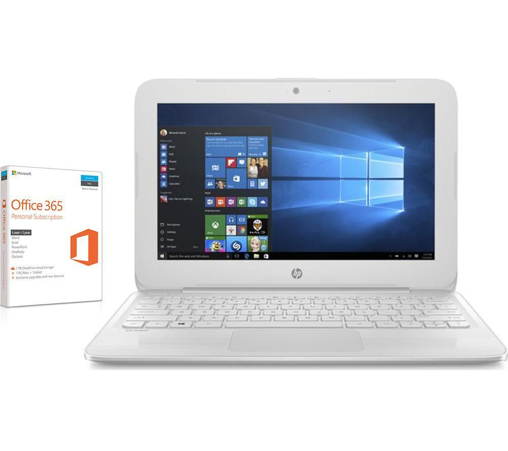 "HP Stream 11-y053na 11.6"" Laptop - White + Office 365 Home + LiveSafe Unlimited 2017 - 1 year"