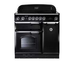 RANGEMASTER Classic 90 Electric Ceramic Range Cooker - Black & Chrome