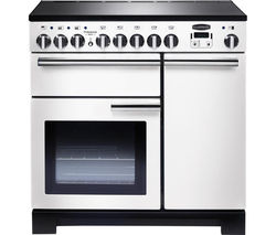 RANGEMASTER Professional Deluxe 90 Electric Induction Range Cooker - White & Chrome