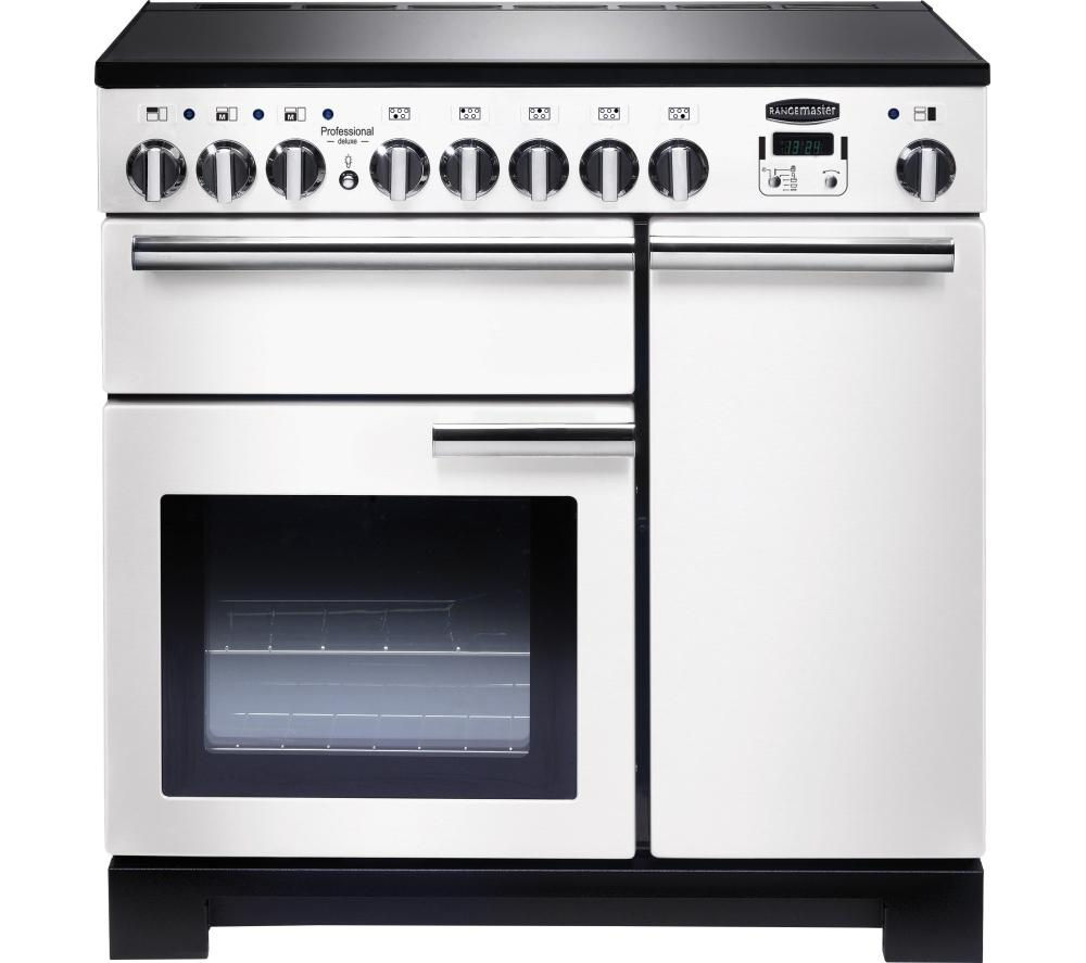 RANGEMASTER  Professional Deluxe 90 Electric Induction Range Cooker  White & Chrome White