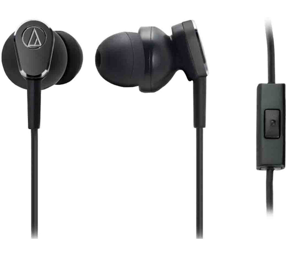 AUDIO TECHNICA QuietPoint ATH-ANC33iS Noise-Cancelling Headphones - Black + iPhone 7 Lightning to 3.5 mm Headphone Jack Adapter