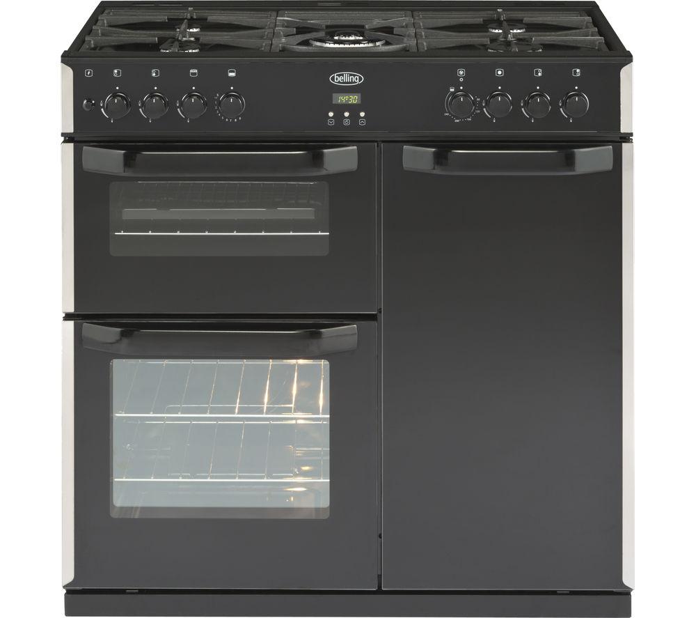 buy belling cr90g dual fuel range cooker black free. Black Bedroom Furniture Sets. Home Design Ideas