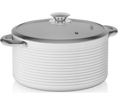 TOWER Linear T90912W 24 cm Casserole Saucepan - White