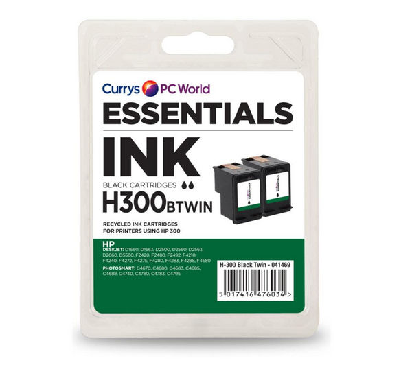ESSENTIALS H300 Black HP Ink Catridges - Twin Pack
