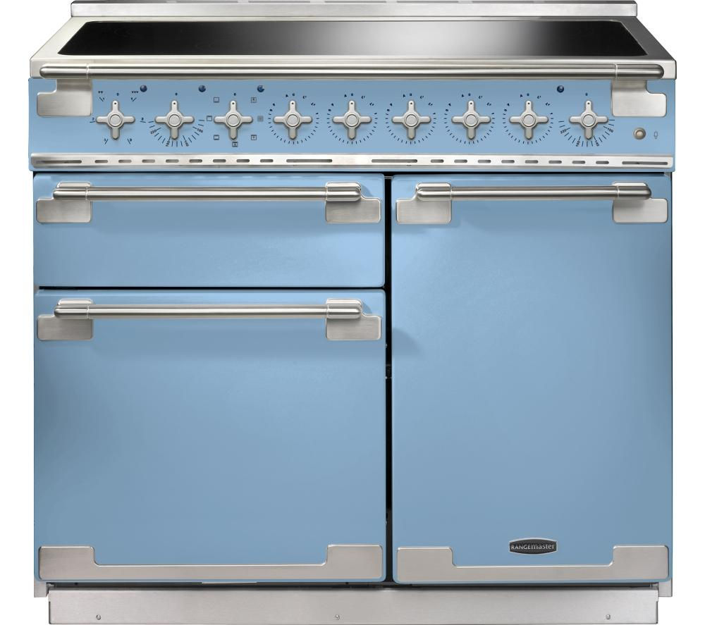 RANGEMASTER Elise 100 Electric Induction Range Cooker - China Blue & Chrome