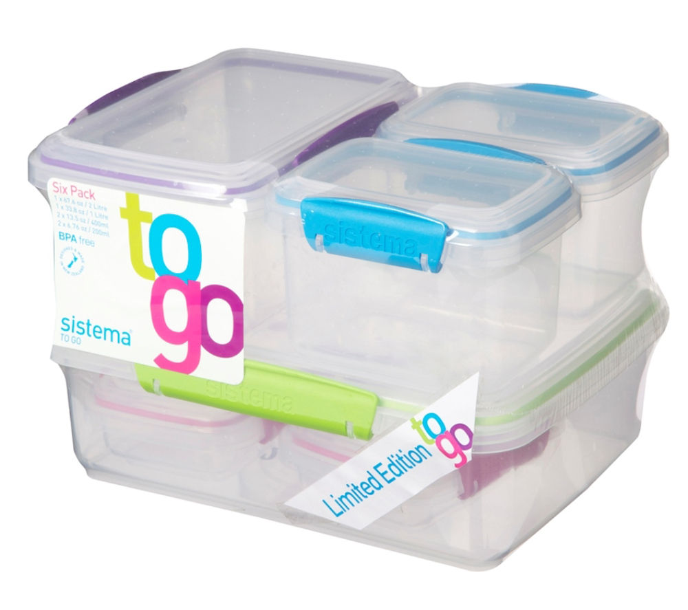 SISTEMA To Go Rectangular Boxes - Pack of Six