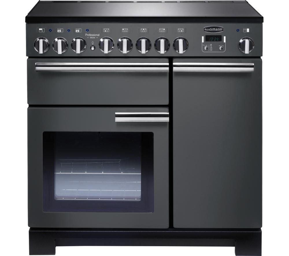 RANGEMASTER Professional Deluxe 90 Electric Induction Range Cooker - Slate & Chrome