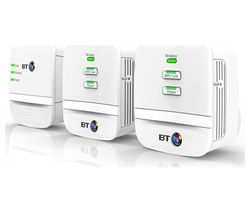 BT Mini Home Hotspot 600 Wireless Powerline Adapter Kit - Triple Pack