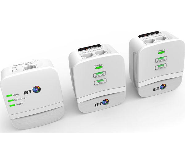Image of BT Mini Home Hotspot 600 Wireless Powerline Adapter Kit - Triple Pack