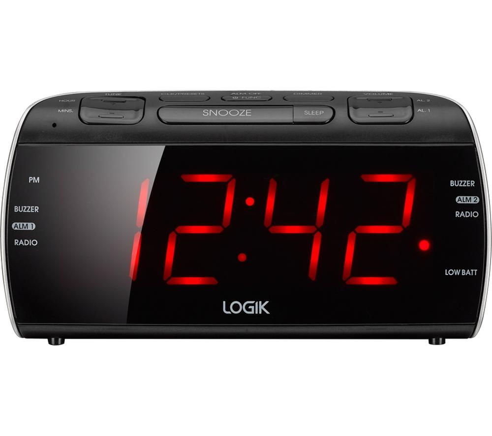 logik lcrb15 analogue clock radio black silver deals pc world. Black Bedroom Furniture Sets. Home Design Ideas
