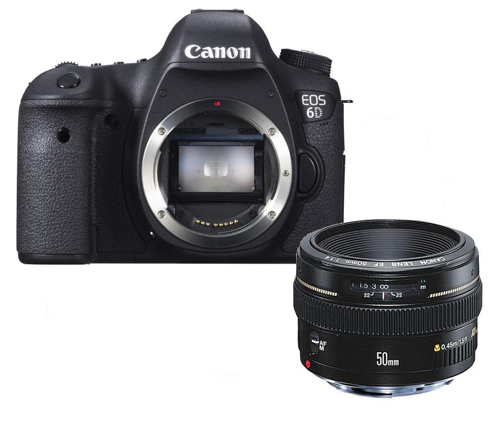 buy canon eos 6d dslr camera with ef 50 mm f 1 4 usm prime lens free delivery currys. Black Bedroom Furniture Sets. Home Design Ideas