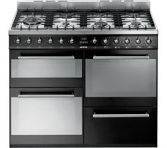 SMEG SYD4110BL 110 cm Dual Fuel Range Cooker – Black & Stainless Steel