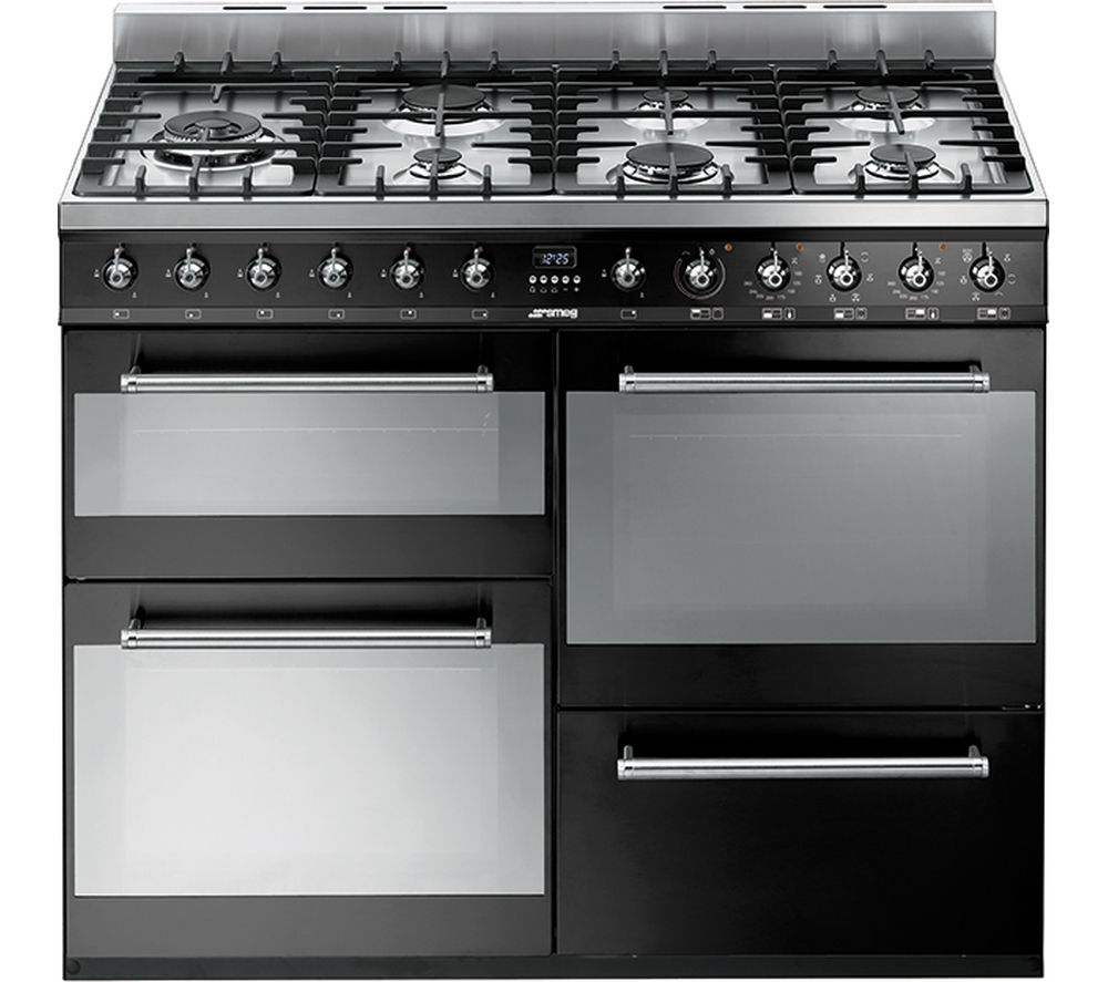 SMEG SYD4110BL 110 cm Dual Fuel Range Cooker – Black & Stainless Steel