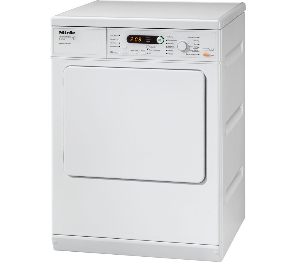 buy miele t8722 tumble dryer white free delivery currys. Black Bedroom Furniture Sets. Home Design Ideas
