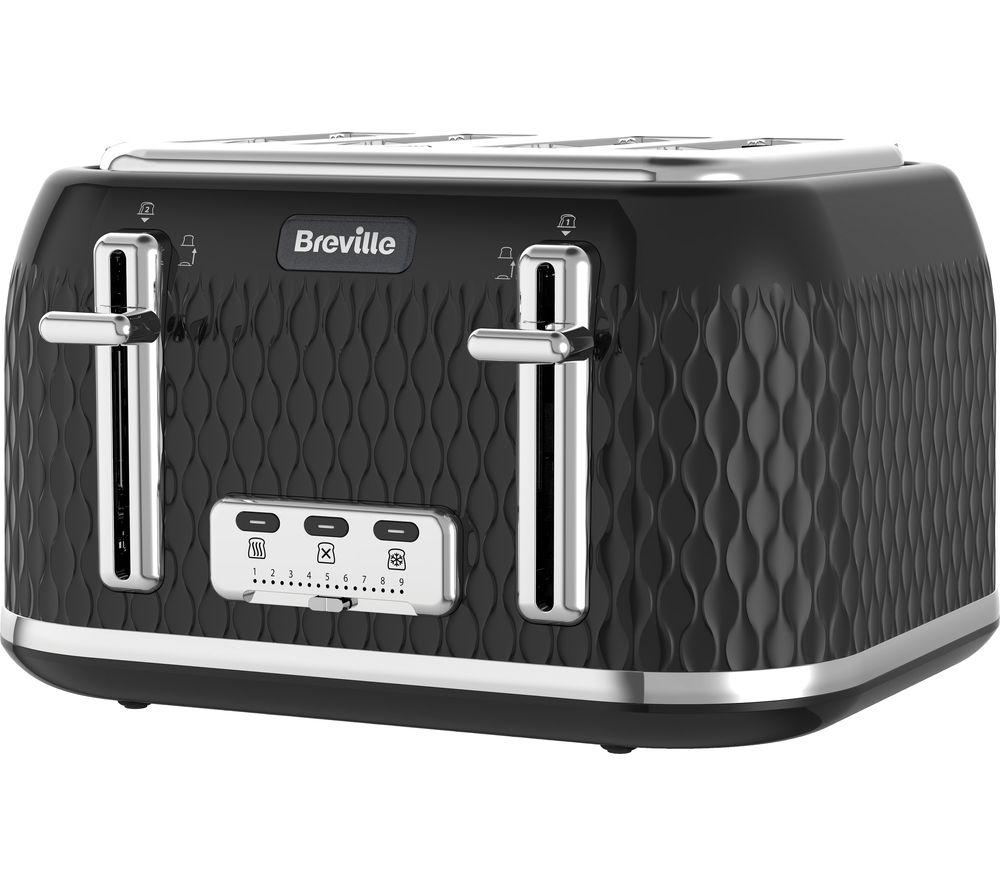 BREVILLE Curve VTT786 4-Slice Toaster - Black + Curve VKT017 Jug Kettle - Black