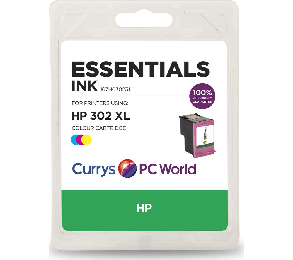 buy essentials 302 xl tri colour hp ink cartridge free delivery currys. Black Bedroom Furniture Sets. Home Design Ideas