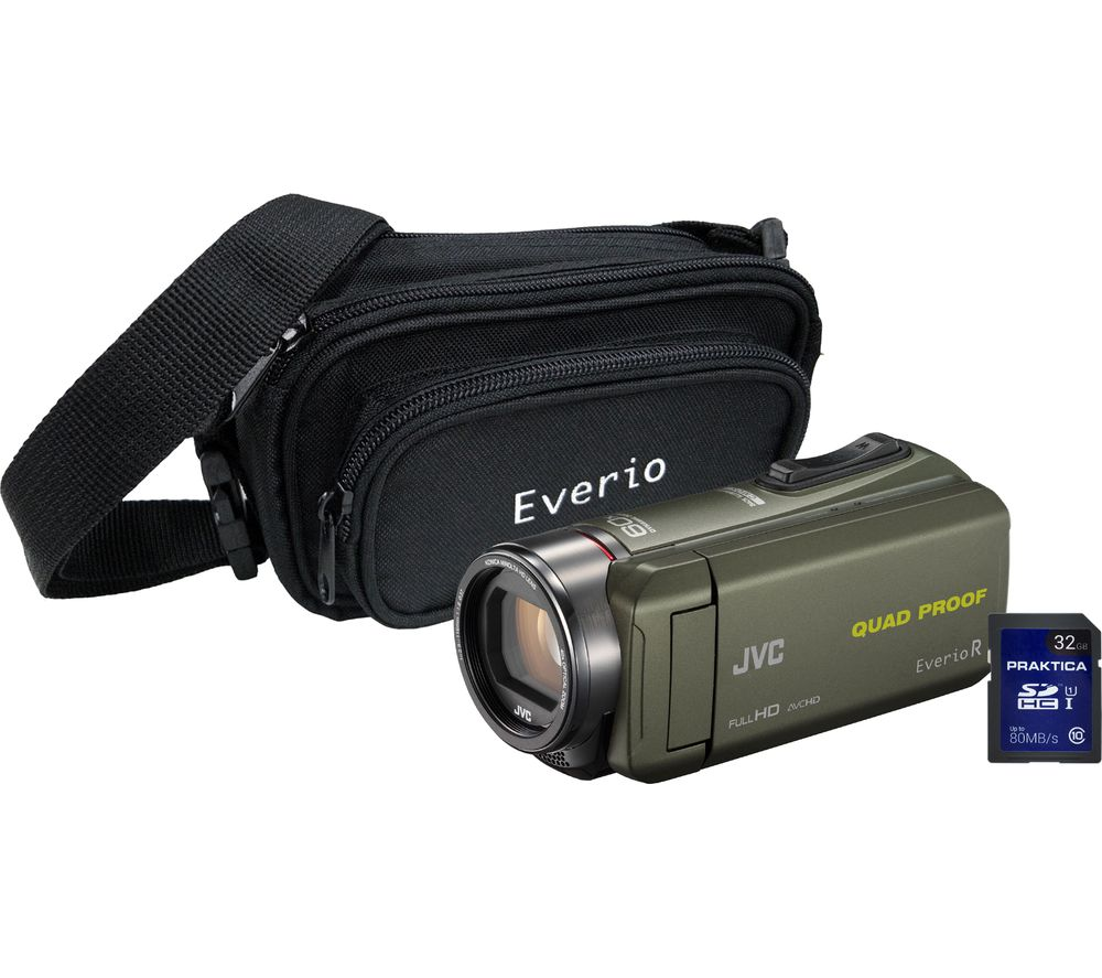 JVC GZ-R435 Camcorder, Bag & 32 GB SD Card Kit - Green