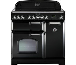 RANGEMASTER Classic Deluxe 90 Electric Induction Range Cooker - Black & Chrome