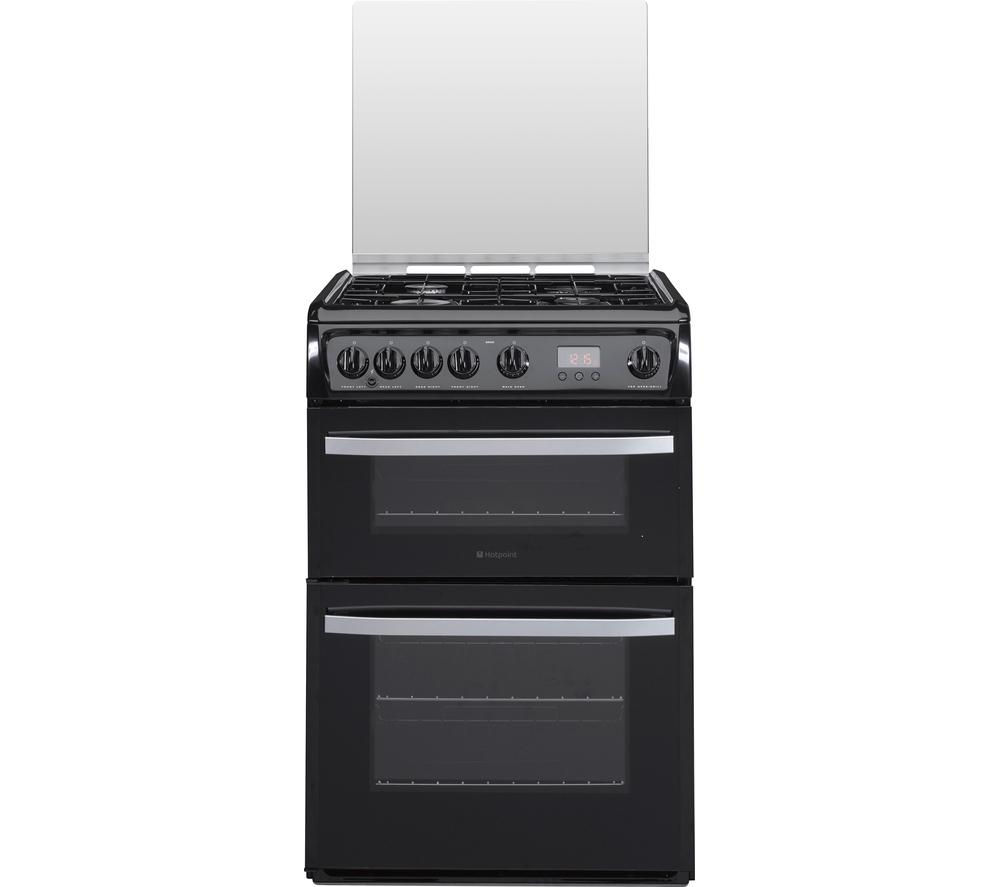 HOTPOINT DSG60K 60 cm Gas Cooker - Black & Stainless Steel